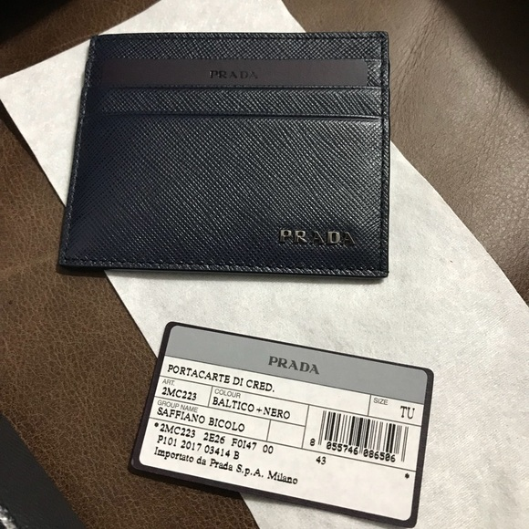 f2aa83dd9ea1 Prada Accessories | Saffiano Leather Bicolor Credit Card Holder ...